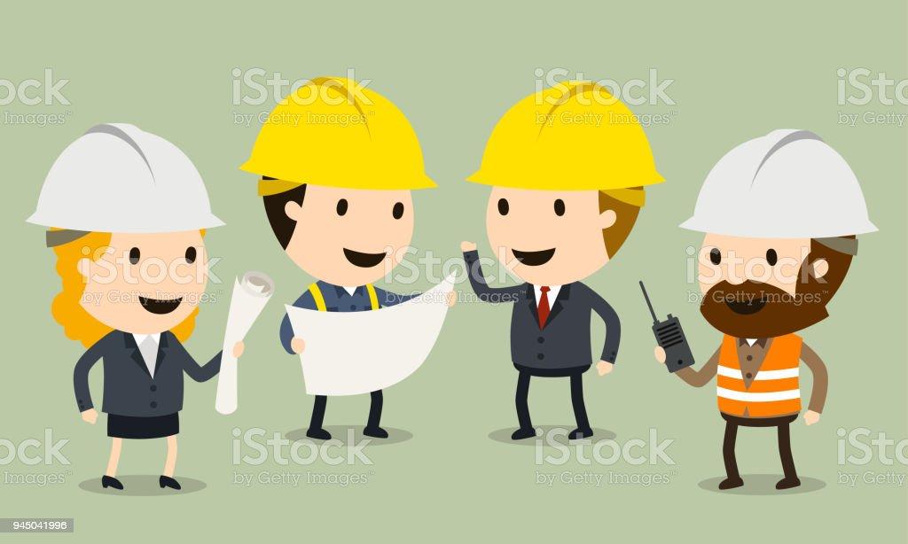 Construction Site Inspection vector art illustration