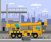 Construction Site, Load Lifting Crane Illustration. Heavy Industrial Machinery with Large Hook at Building Zone, Yard. Special Transport with Empty Cabin, Concrete Pipes, Warning Signs