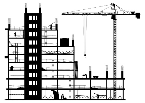 Construction site on a white background
