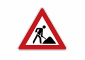 construction site sign - caution, construction works traffic sign