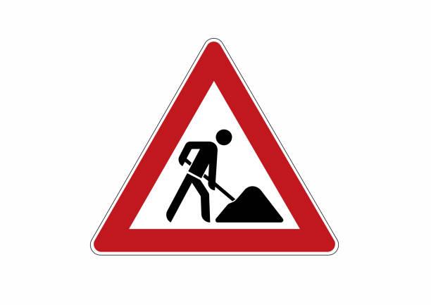 illustrations, cliparts, dessins animés et icônes de signe du chantier de construction-prudence, travaux de construction - chantier