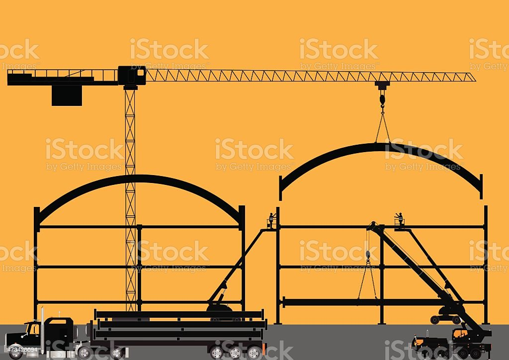 Construction Site Silhouette vector art illustration