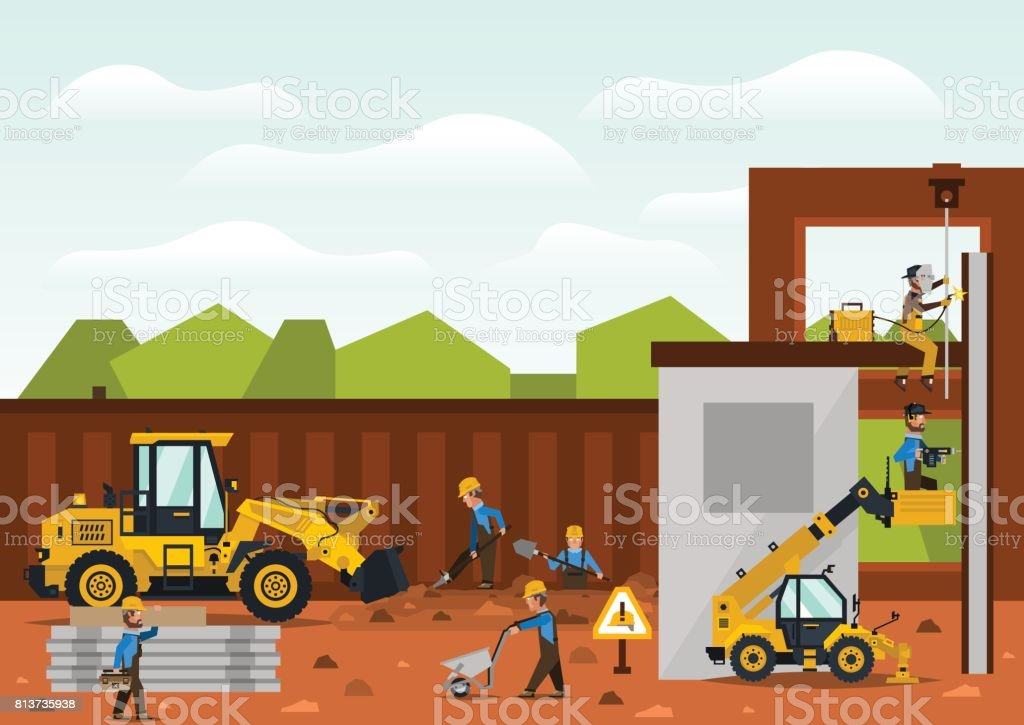 Construction site. The construction of the building. Isolated elements. Builders are doing their job. Front loaders and telehandlers. Fences. Against the background of trees and sky. Flat style. vector art illustration