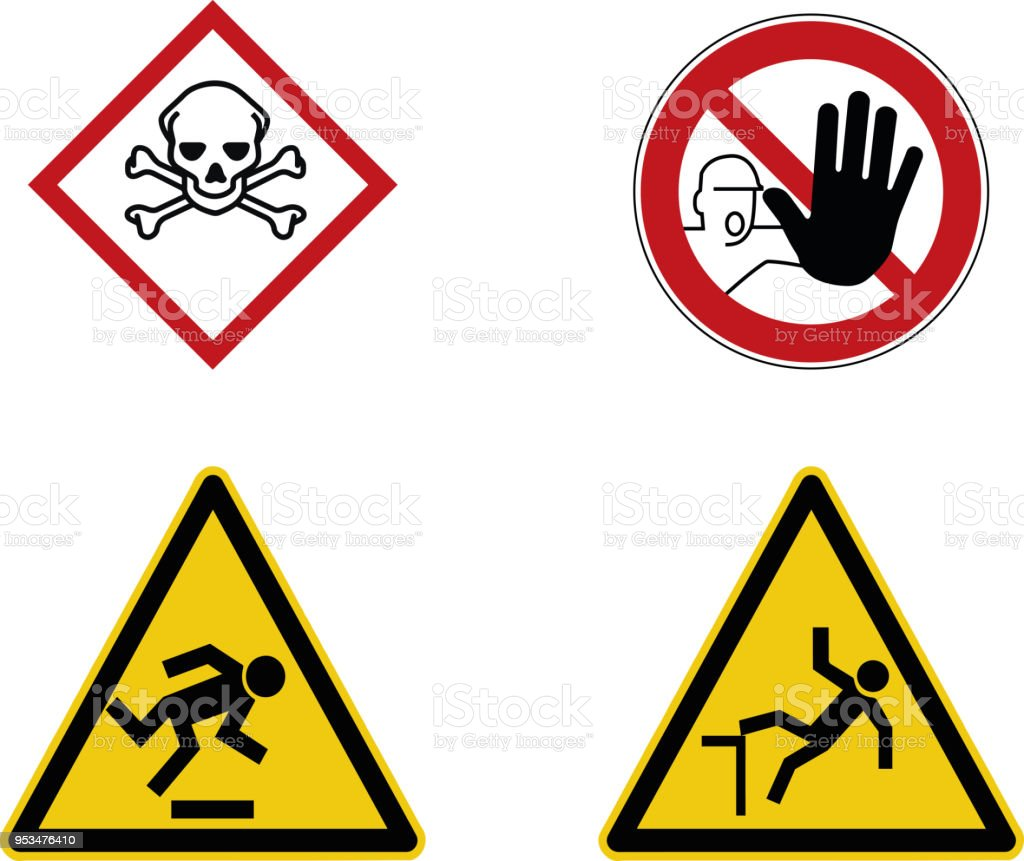 Construction Site Warning Sign Toxic Stop And Caution Symbols Stock