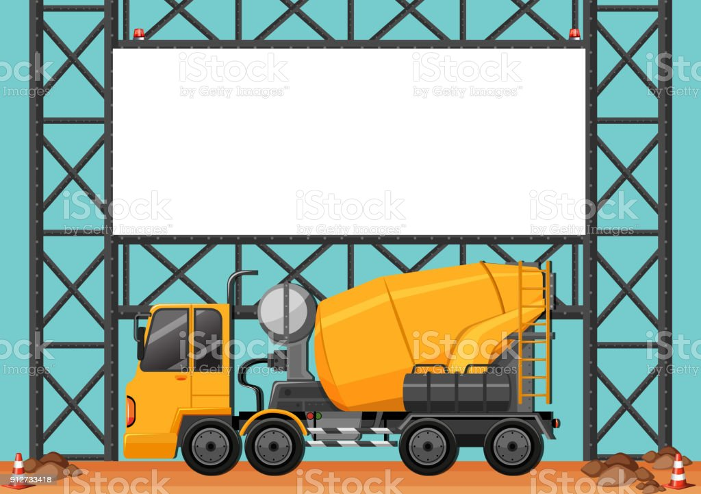 Construction site with blank board and cement truck vector art illustration