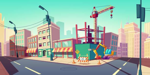 Baustelle mit Baukran auf der Straße – Vektorgrafik