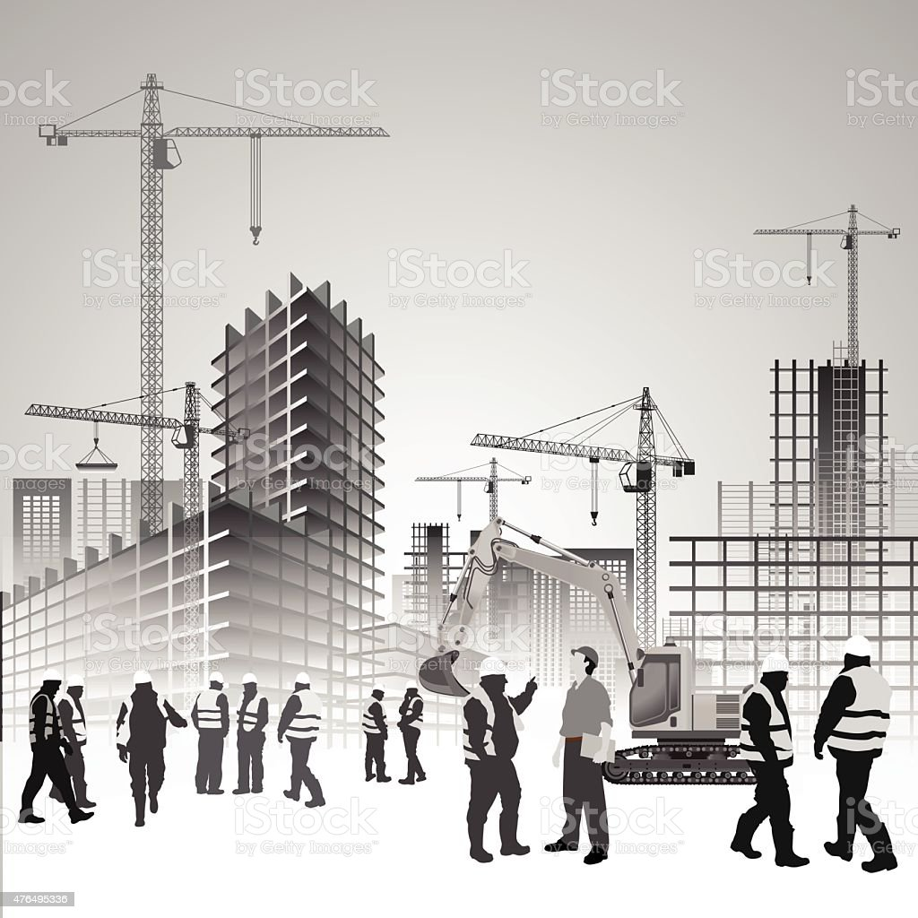 Construction site workers vector art illustration