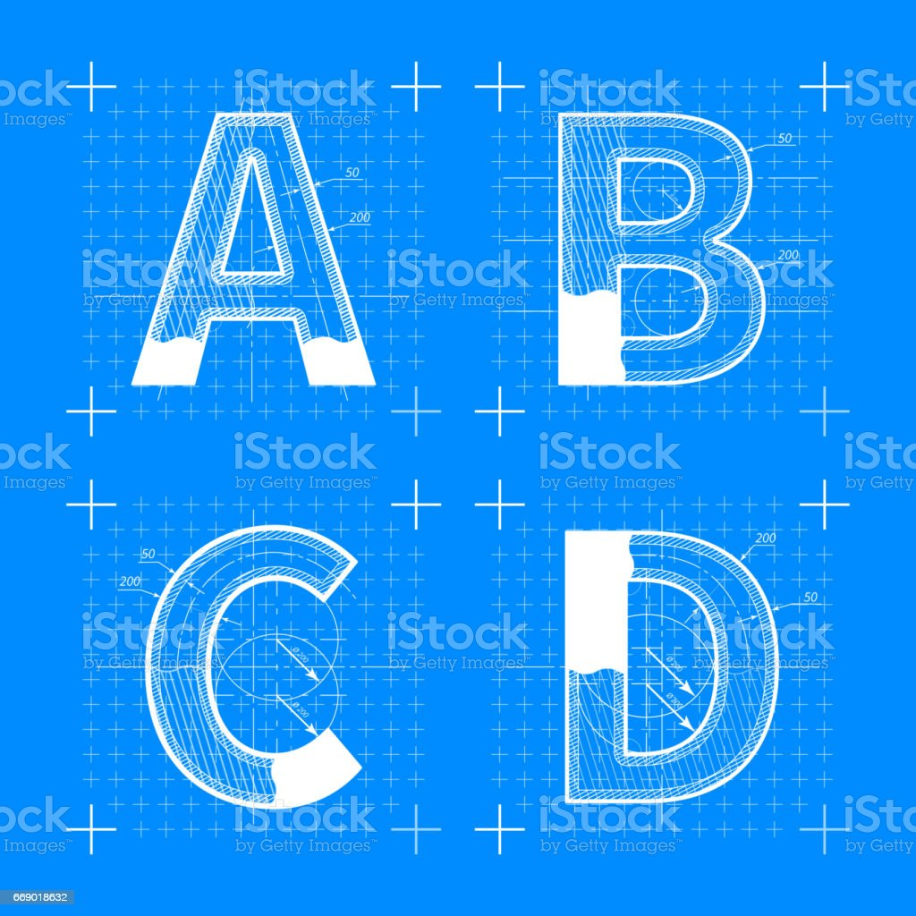 Construction sketches of A B C D letters vector art illustration