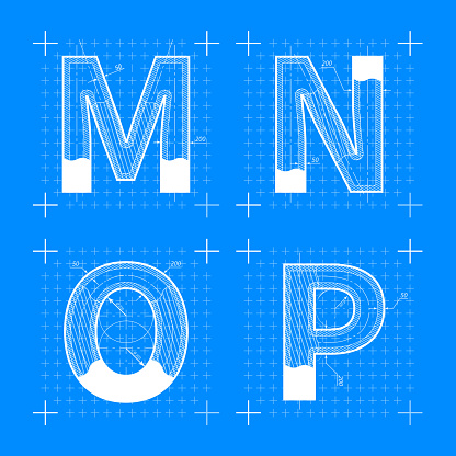Construction sketches of M N O P letters