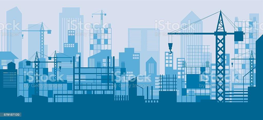 Construction Skyline, Scene, Blue Background – Vektorgrafik