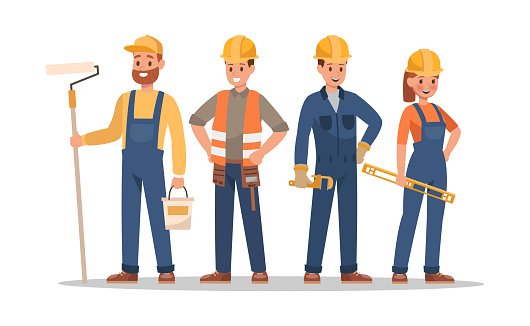 Construction staff characters design. Include foreman, painter, electrician, landscaper, carpenter. Professionals team.