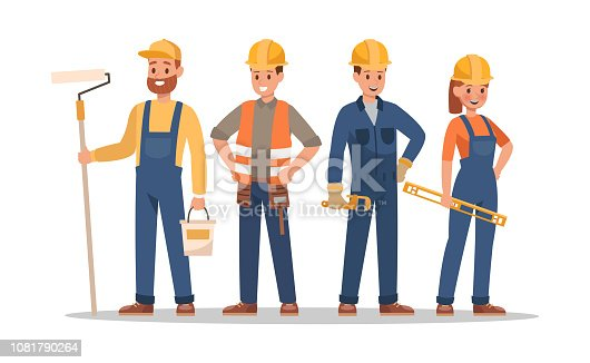 istock Construction staff characters design. Include foreman, painter, electrician, landscaper, carpenter. Professionals team. 1081790264