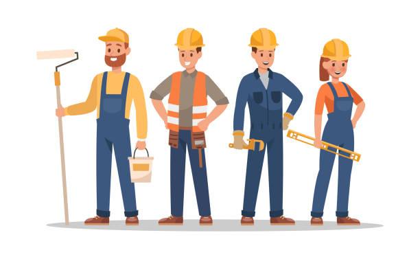 ilustraciones, imágenes clip art, dibujos animados e iconos de stock de diseño de personajes de construcción personal. incluyen capataz, pintor, electricista, jardinero, carpintero. equipo de profesionales. - obrero de la construcción