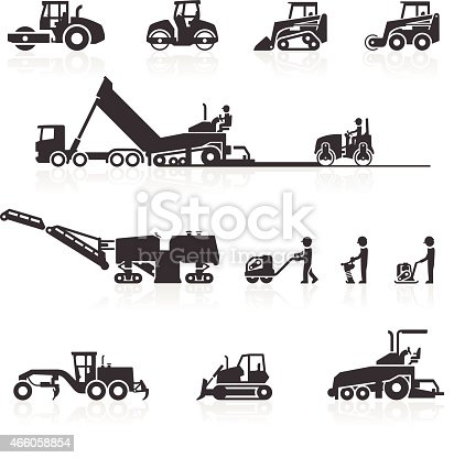 Construction surfacing & paving machinery icons. Includes compactors, steam rollers, dump truck, tipper, asphalt pavers, cold planers & motor graders. Layered & grouped for ease of use. Download includes EPS 8, EPS 10 and high resolution JPEG & PNG files.