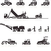 Construction surfacing and paving machinery icons