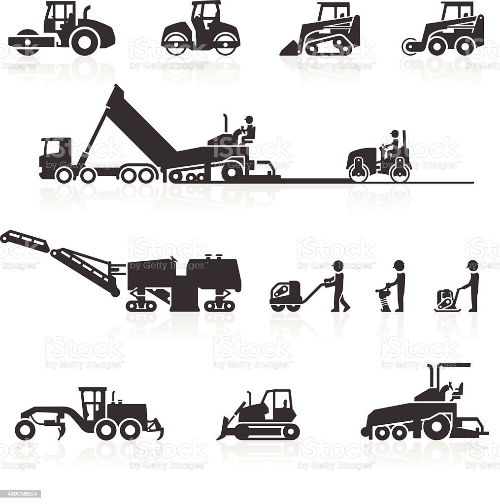 Construction surfacing and paving machinery icons vector art illustration