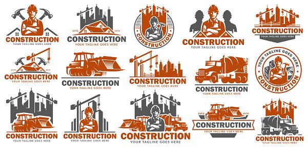 Construction symbol template set, symbol pack, icon bundles, vector pack of Construction illustration