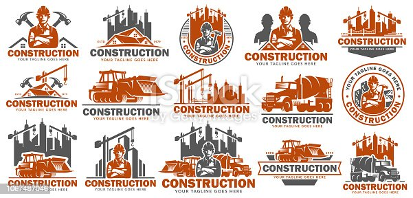 Construction symbol template set, symbol pack, icon bundles, vector pack of Construction graphic, easy to edit