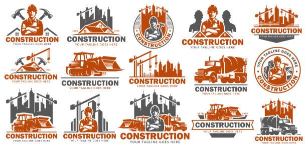 stockillustraties, clipart, cartoons en iconen met bouw symboolset sjabloon, symbool pack, pictogram bundels, vector pack bouw illustratie - graven