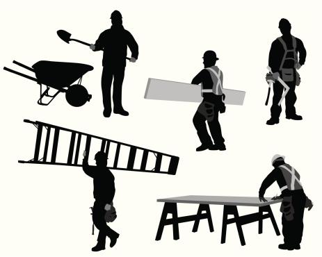Construction Tasks Vector Silhouette