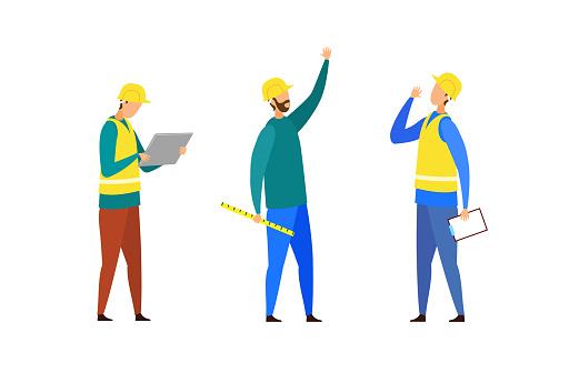 Construction Team, Crew Cartoon Characters Set