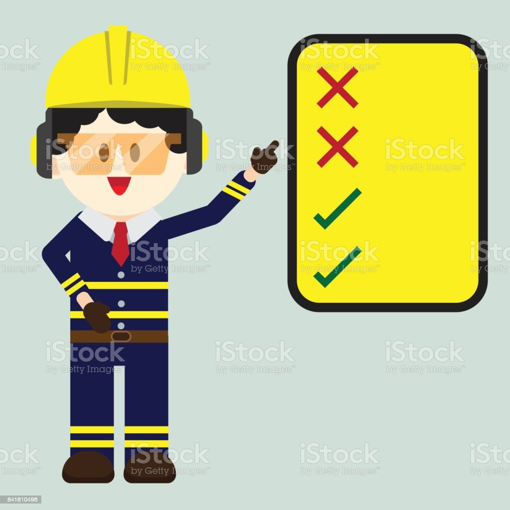 construction technician worker pointing safety sign do and dont sign vector