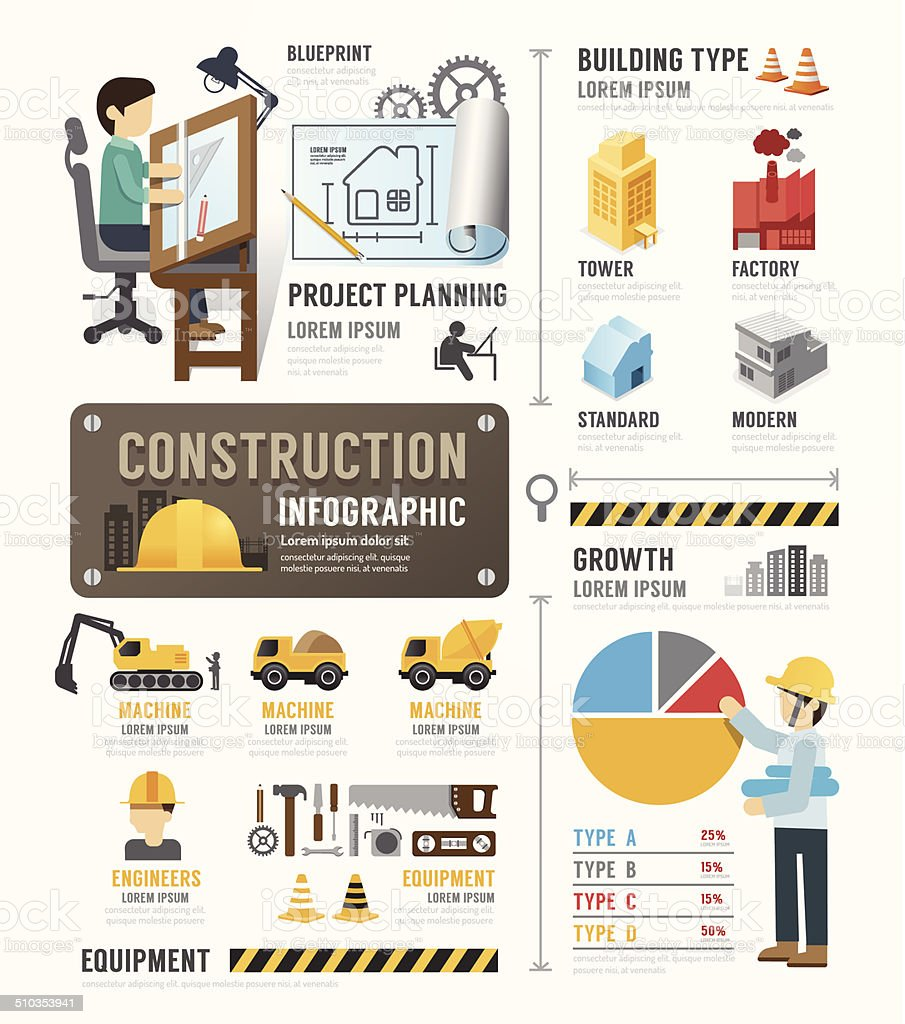 Construction Template Design Infographic . concept vector. vector art illustration