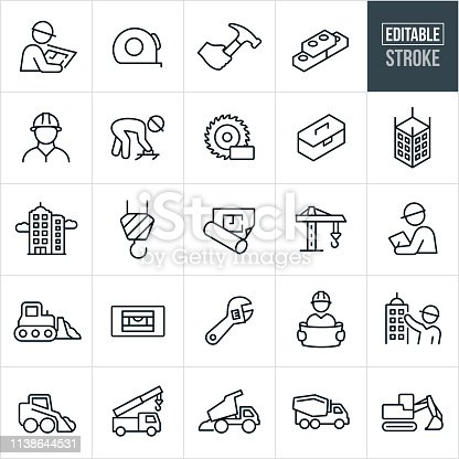 A set construction icons that include editable strokes or outlines using the EPS vector file. The icons include construction workers, engineers, blue prints, bricks, construction workers working, saw, toolbox, building construction, crane, foreman, and engineer holding blueprints. They also include heavy equipment including a bulldozer, dump truck, cement truck and excavator. Also included are work tools including a tape measure, hammer, level and wrench.