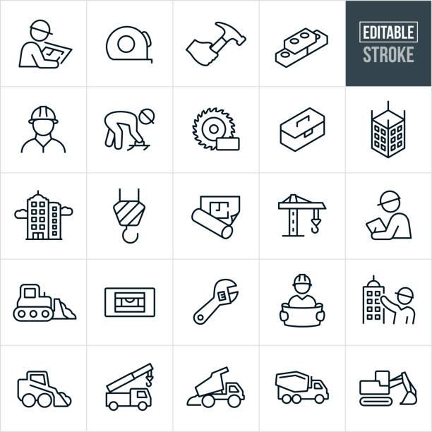 illustrazioni stock, clip art, cartoni animati e icone di tendenza di icone della linea sottile di costruzione - tratto modificabile - costruire