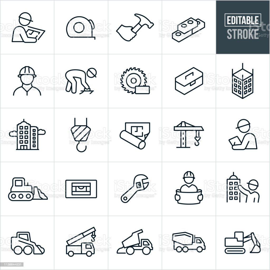 Construction Thin Line Icons-Editable Stroke – Vektorgrafik
