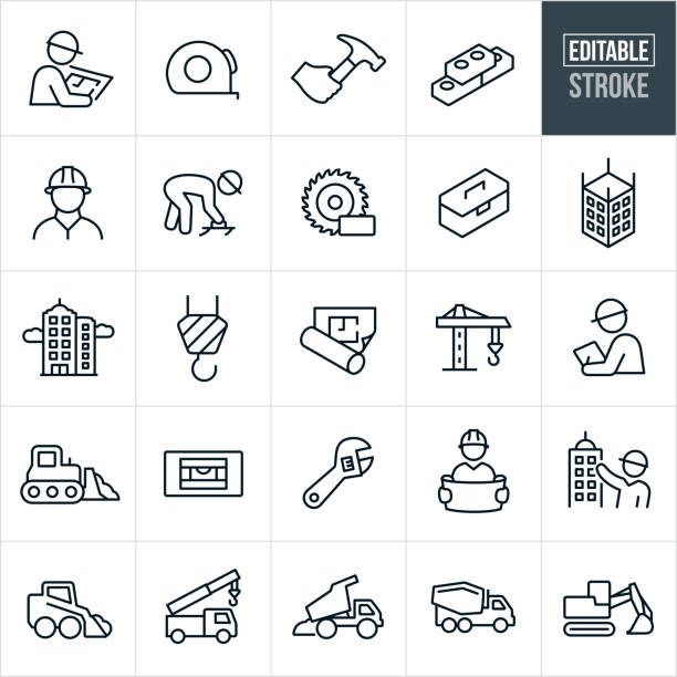 construction thin line icons-editable stroke - architekturberuf stock-grafiken, -clipart, -cartoons und -symbole