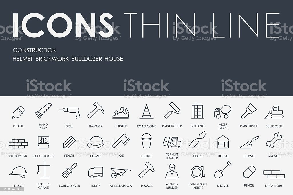 construction Thin Line Icons vector art illustration