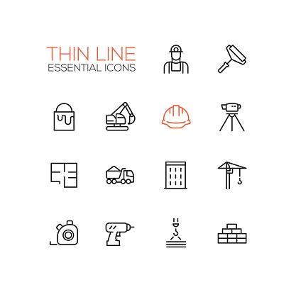 Construction - Thin Single Line Icons Set