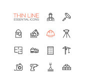Construction - Thin Single Line Icons Set