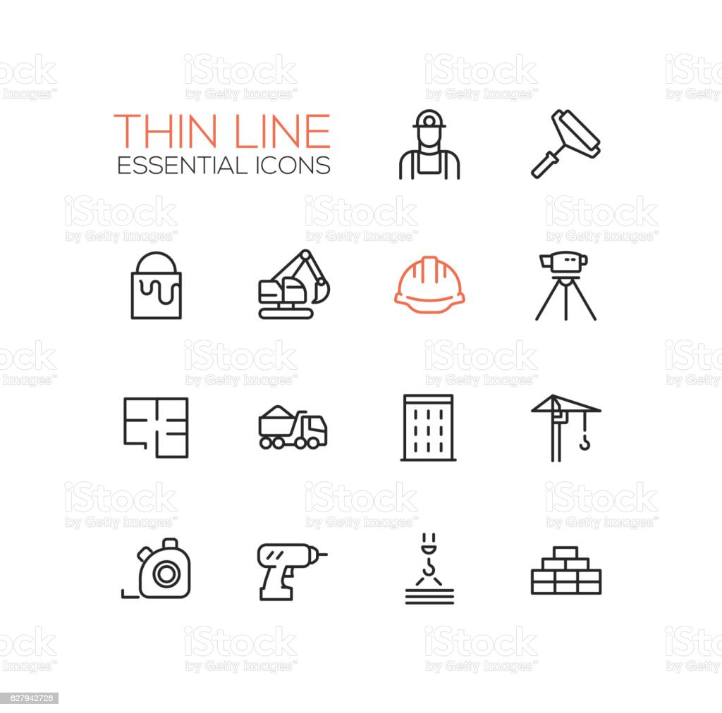 Construction - Thin Single Line Icons Set vector art illustration