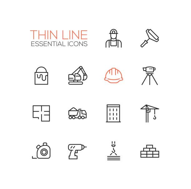 Construction - Thin Single Line Icons Set vector art illustration