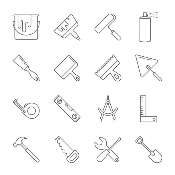 Construction tool icon collection - vector illustration. Editable Stroke. EPS 10 vector art illustration