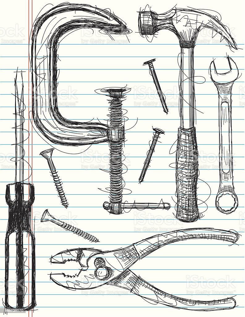 construction tool sketches vector art illustration