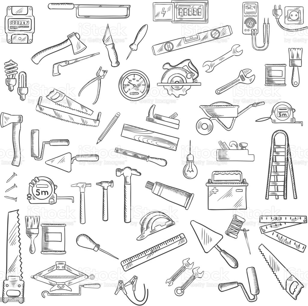Construction tools and equipment objects vector art illustration