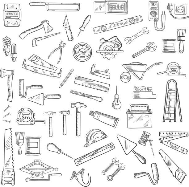 stockillustraties, clipart, cartoons en iconen met construction tools and equipment objects - kruiwagen met gereedschap
