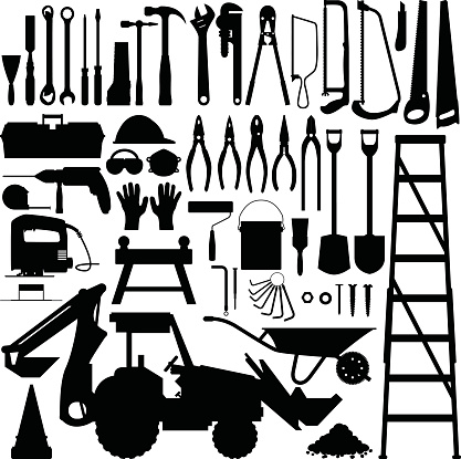 Construction Tools and Equipment Silhouette Vector