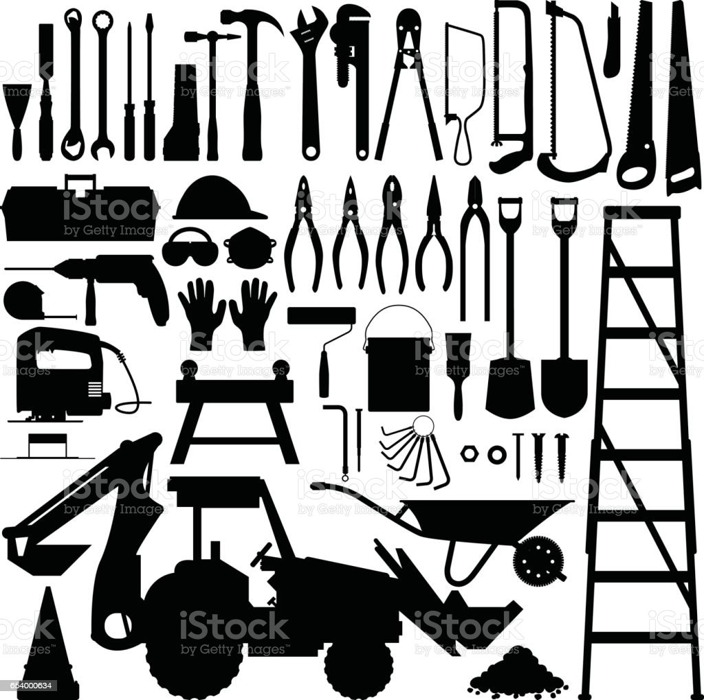 Construction Tools and Equipment Silhouette Vector vector art illustration