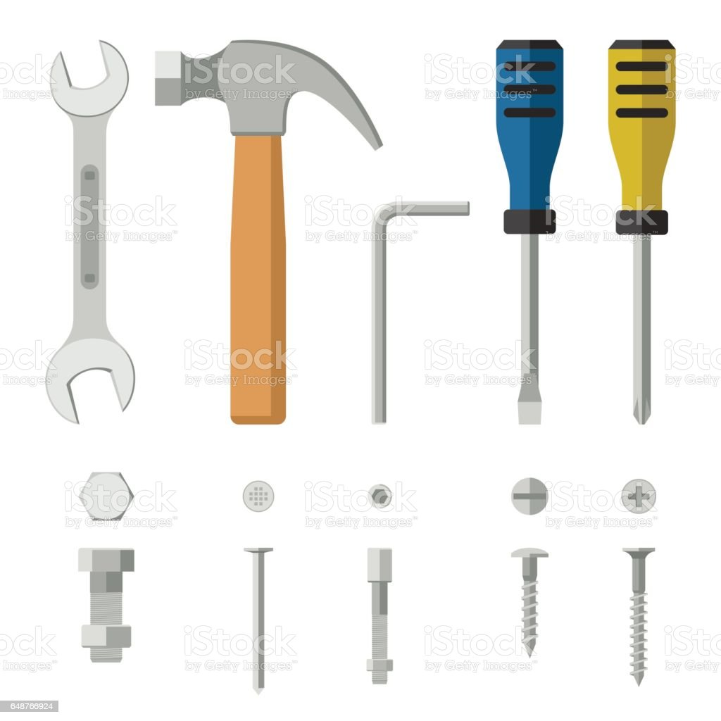 Construction tools and fixing. vector art illustration