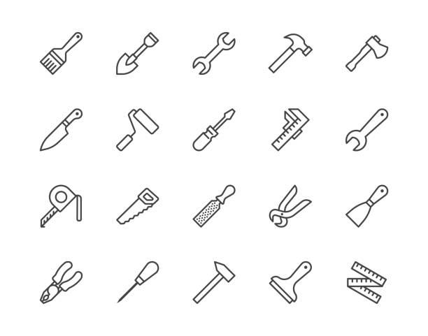 illustrations, cliparts, dessins animés et icônes de ensemble d'icônes de ligne plate d'outils de construction. marteau, tournevis, scie, clé, illustrations vectorielles de pinceau. panneaux d'contour pour charpentier, magasin d'équipement de constructeur. pixel parfait 64x64. coups modifiables - raclette