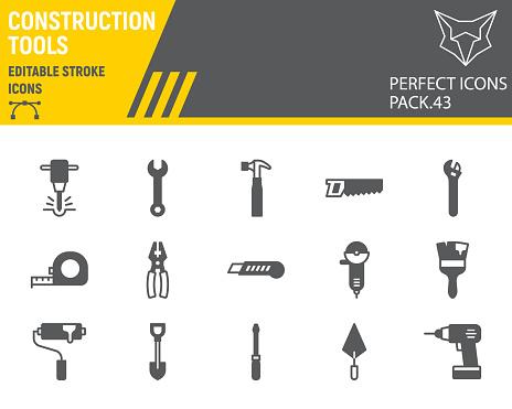 Construction tools glyph icon set