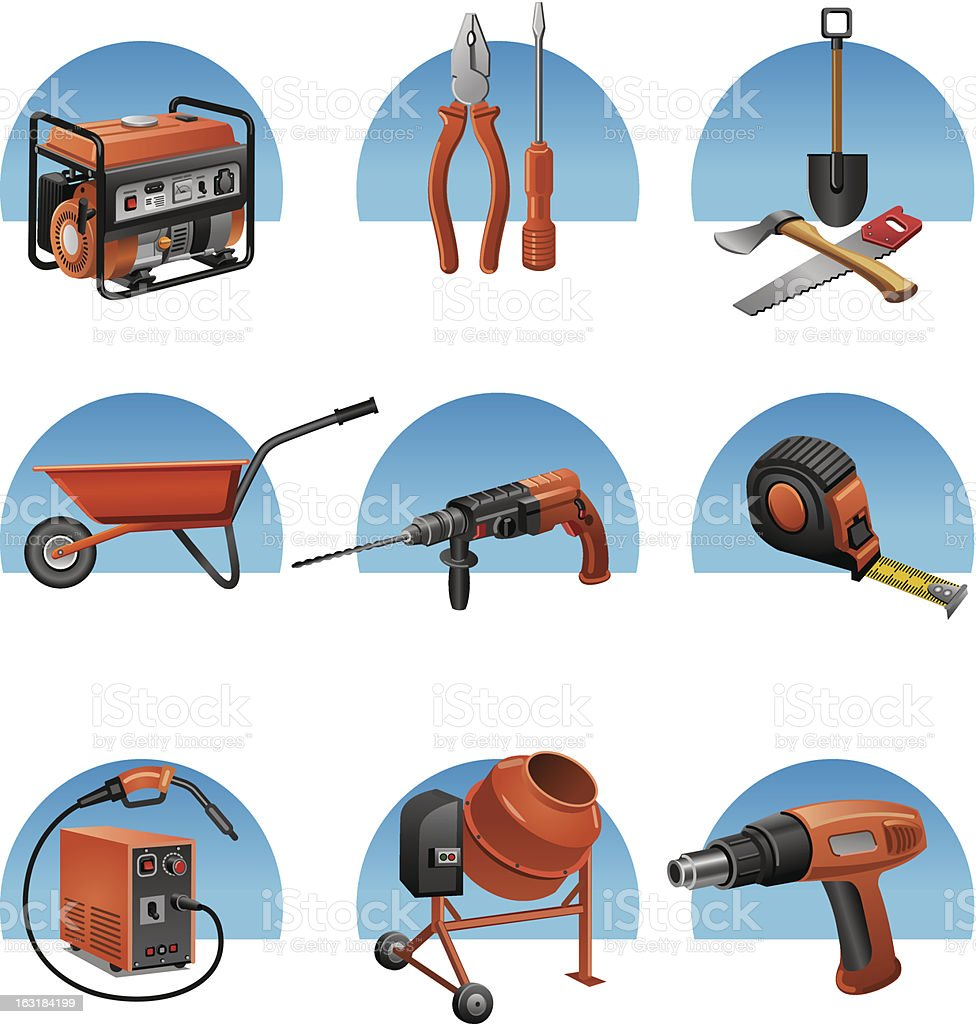 construction tools icon set royalty-free stock vector art