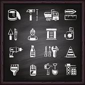 Construction, repair, home repair, icon, icon set, work tools on blackboard