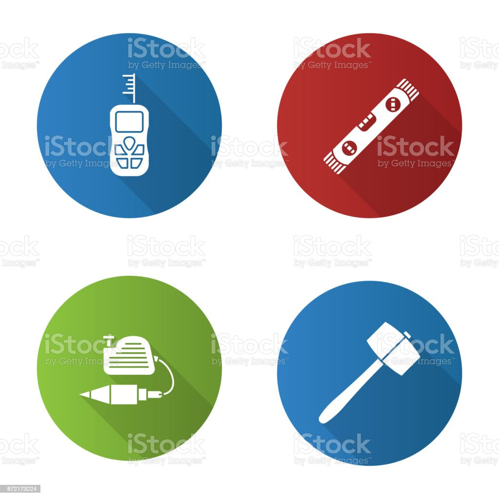 Construction tools icons vector art illustration