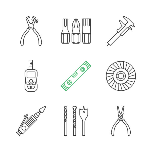 Construction tools icons Construction tools linear vector icons. Thin line. Screwdriver bits, slide gauge, vernier caliper, laser ruler, spirit level, abrasive flap wheel drill bit stock illustrations