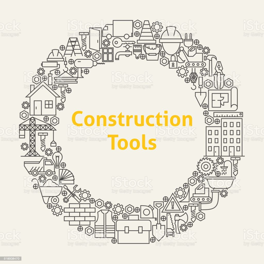 Construction Tools Line Art Icons Set Circle vector art illustration